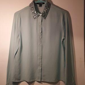 Forever 21 semi sheer turquoise blouse